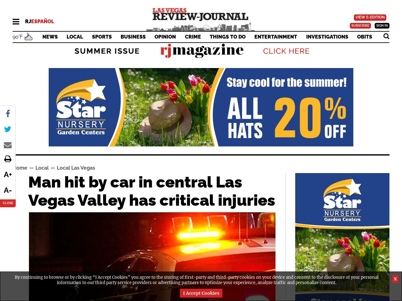 Man hit by car in central Las Vegas Valley has critical injuries