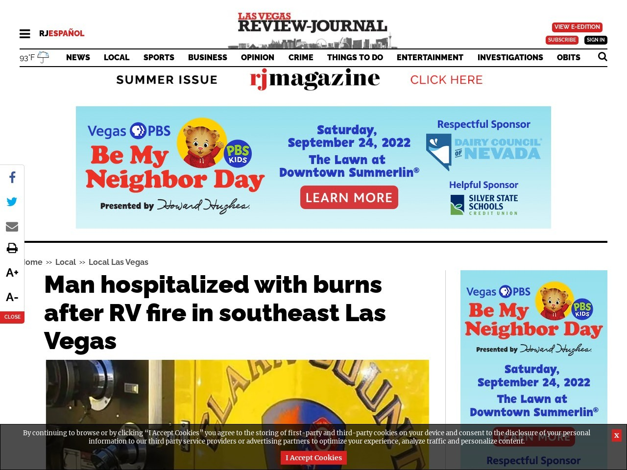 Man hospitalized with burns after RV fire in southeast Las Vegas
