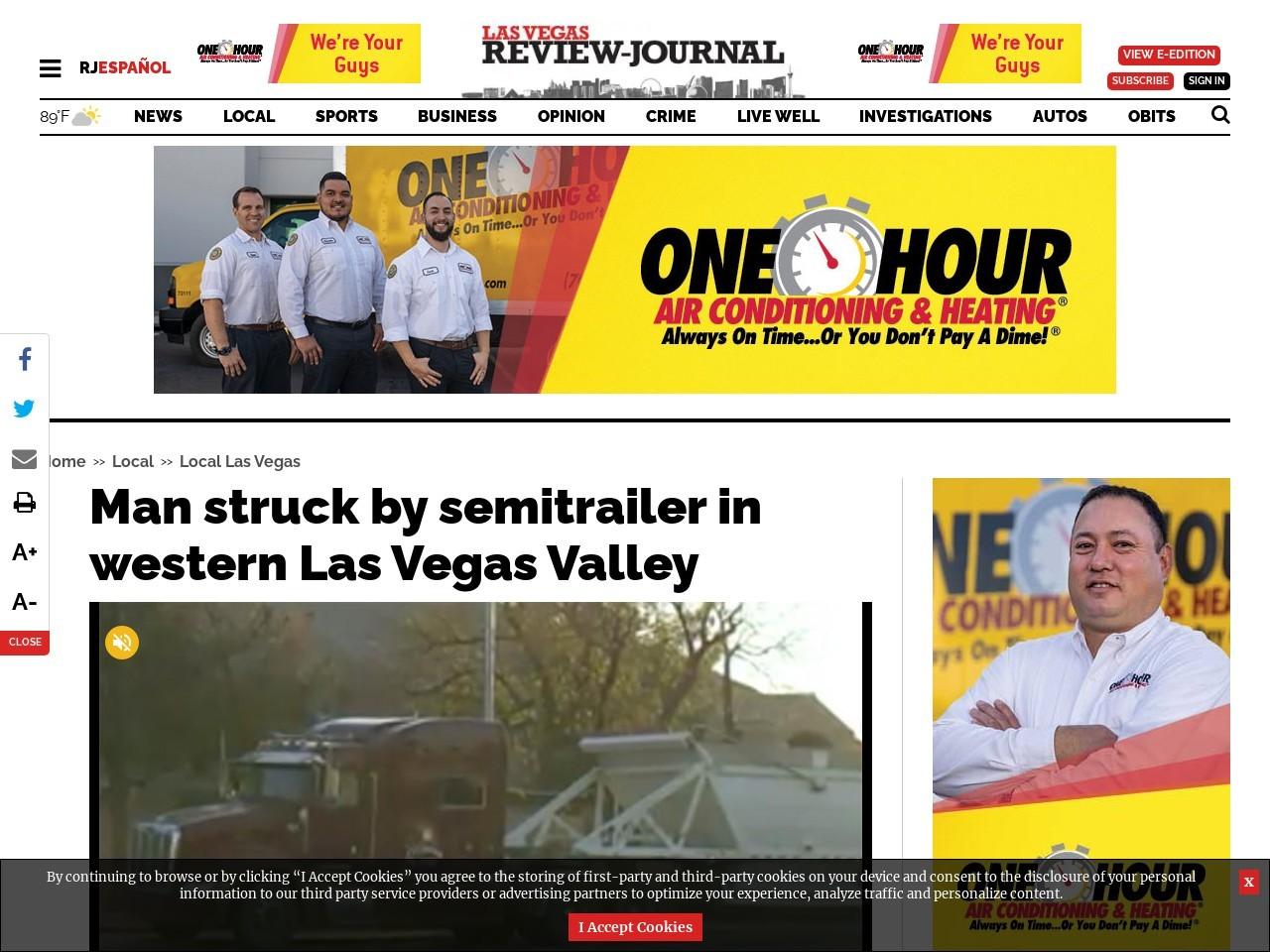 Man struck by vehicle in western Las Vegas Valley