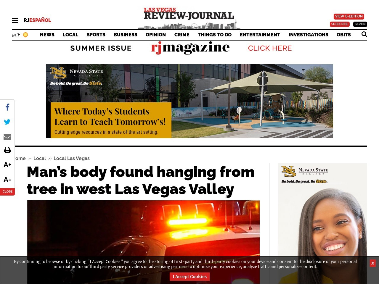 Man's body found hanging from tree in west Las Vegas Valley