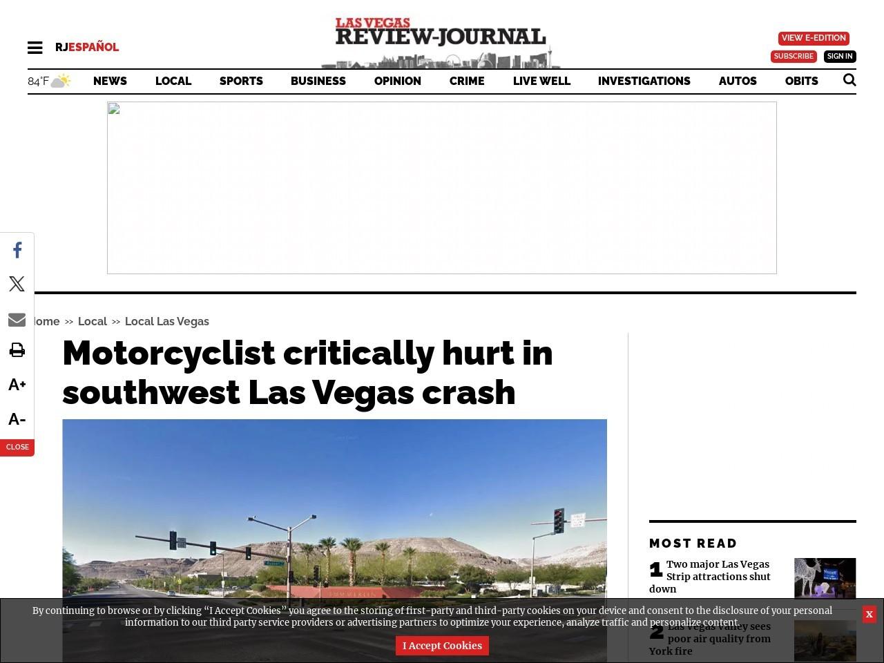 Motorcyclist critically hurt in southwest Las Vegas crash