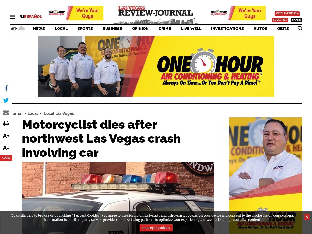 Motorcyclist dies after northwest Las Vegas crash involving car