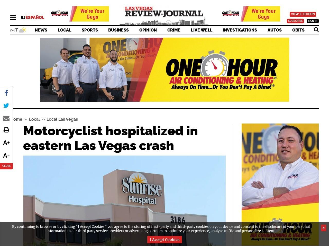 Motorcyclist hospitalized in eastern Las Vegas crash