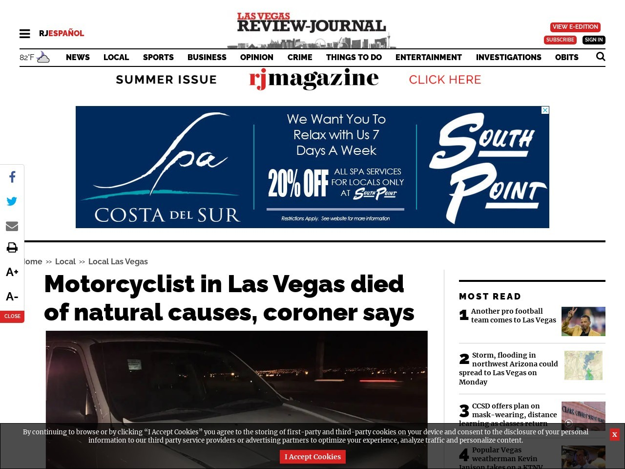 Motorcyclist in Las Vegas died of natural causes, coroner says