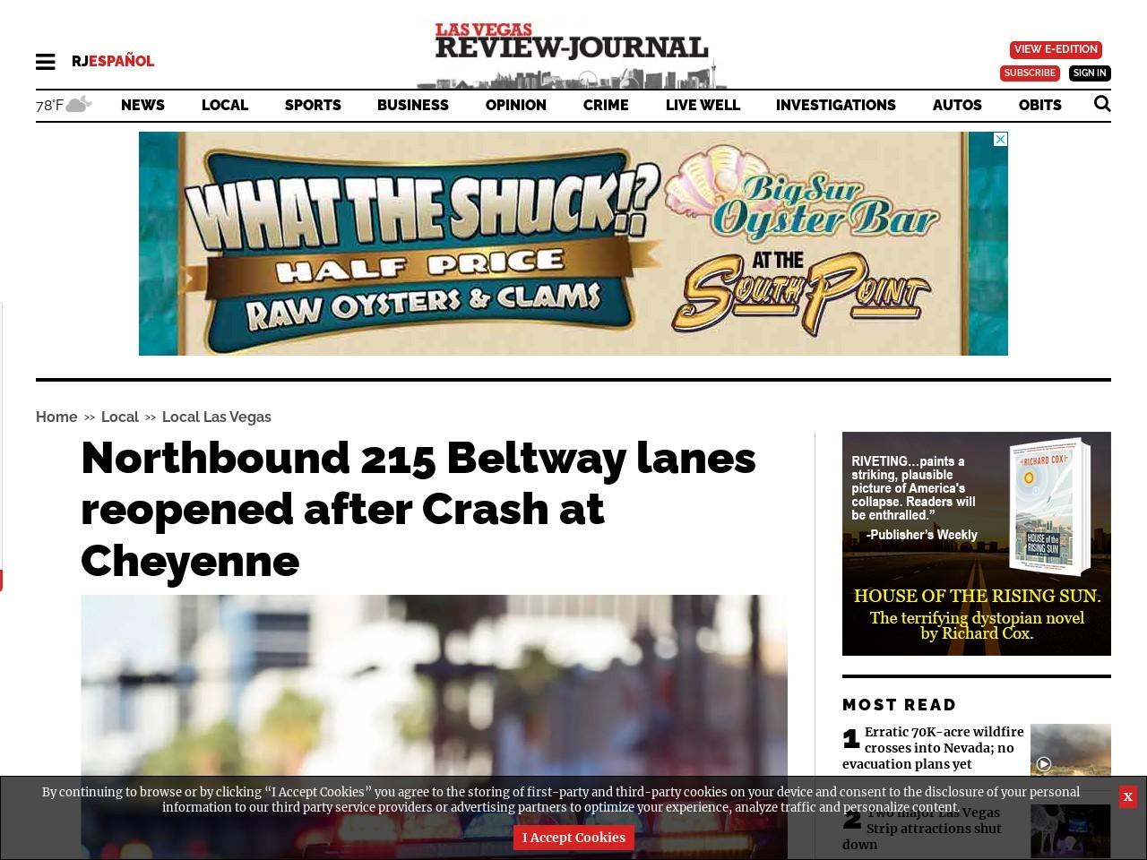 Northbound 215 Beltway lanes reopened after Crash at Cheyenne