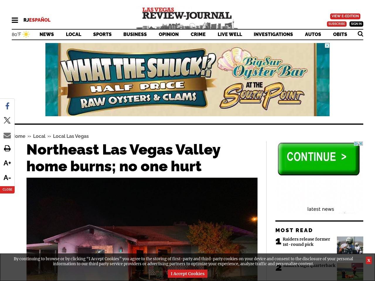 Northeast Las Vegas Valley home burns; no one hurt
