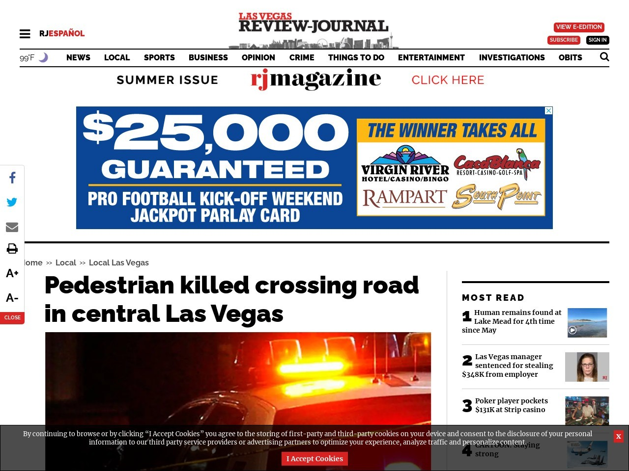 Pedestrian crossing road killed in crash in central Las Vegas