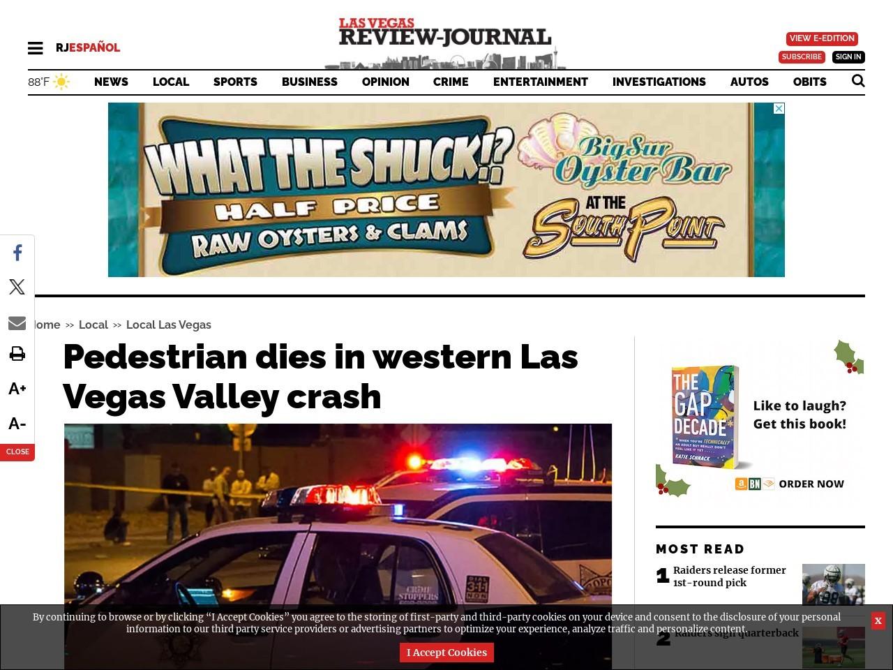 Pedestrian dies in western Las Vegas Valley crash