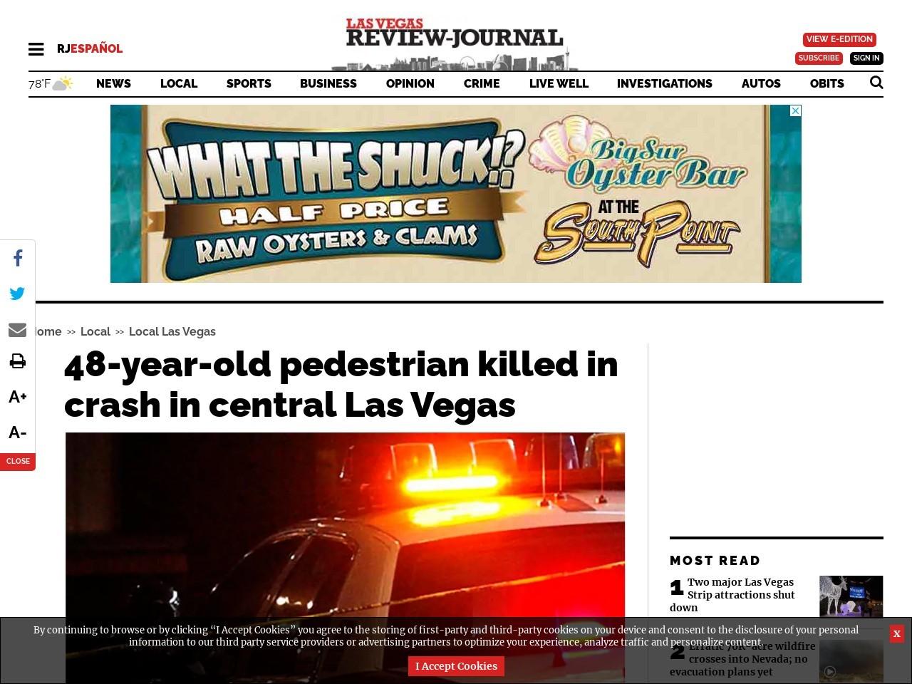 Pedestrian killed in crash in central Las Vegas