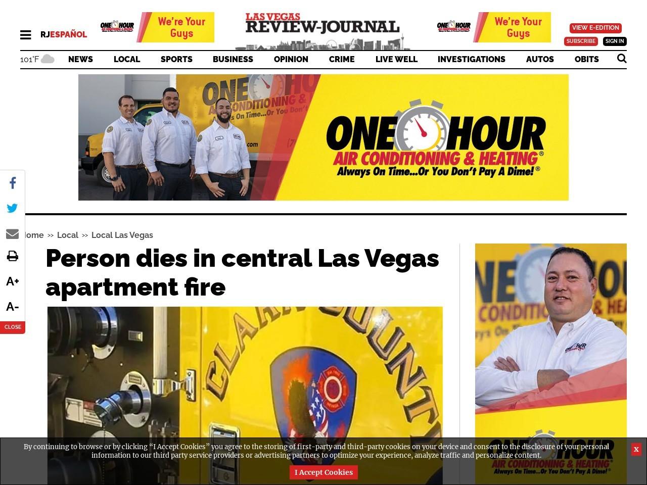 Person dies in central Las Vegas apartment fire