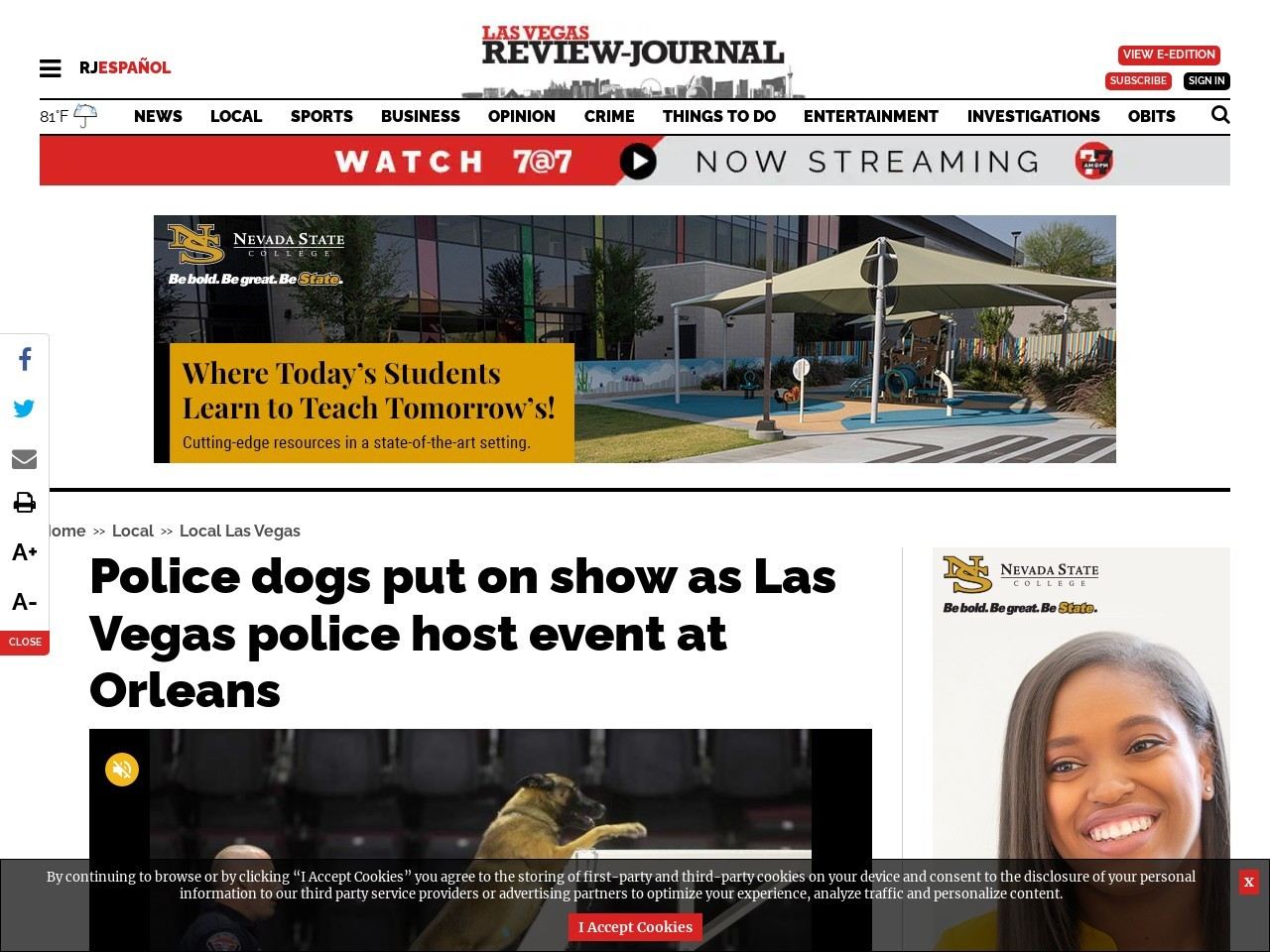Police dogs put on show as Las Vegas police host event at Orleans