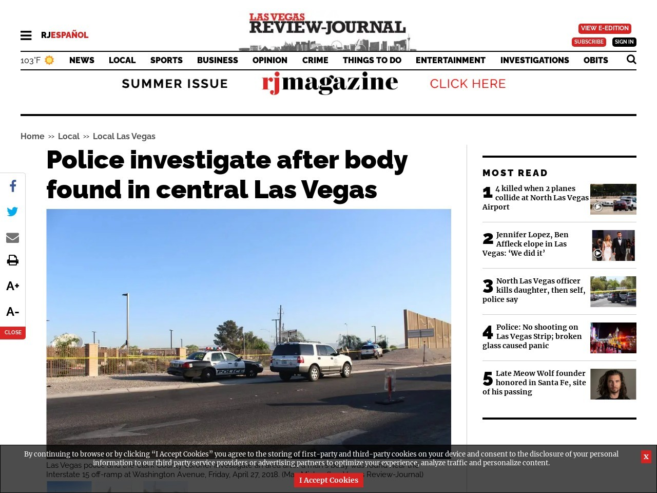 Police investigate after body found in central Las Vegas