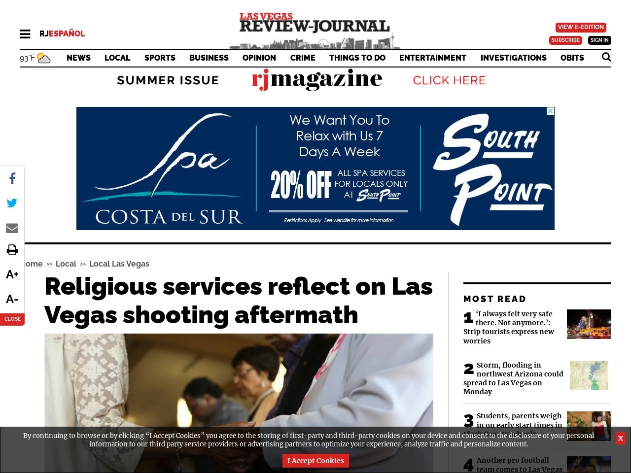 Religious services reflect on Las Vegas shooting aftermath
