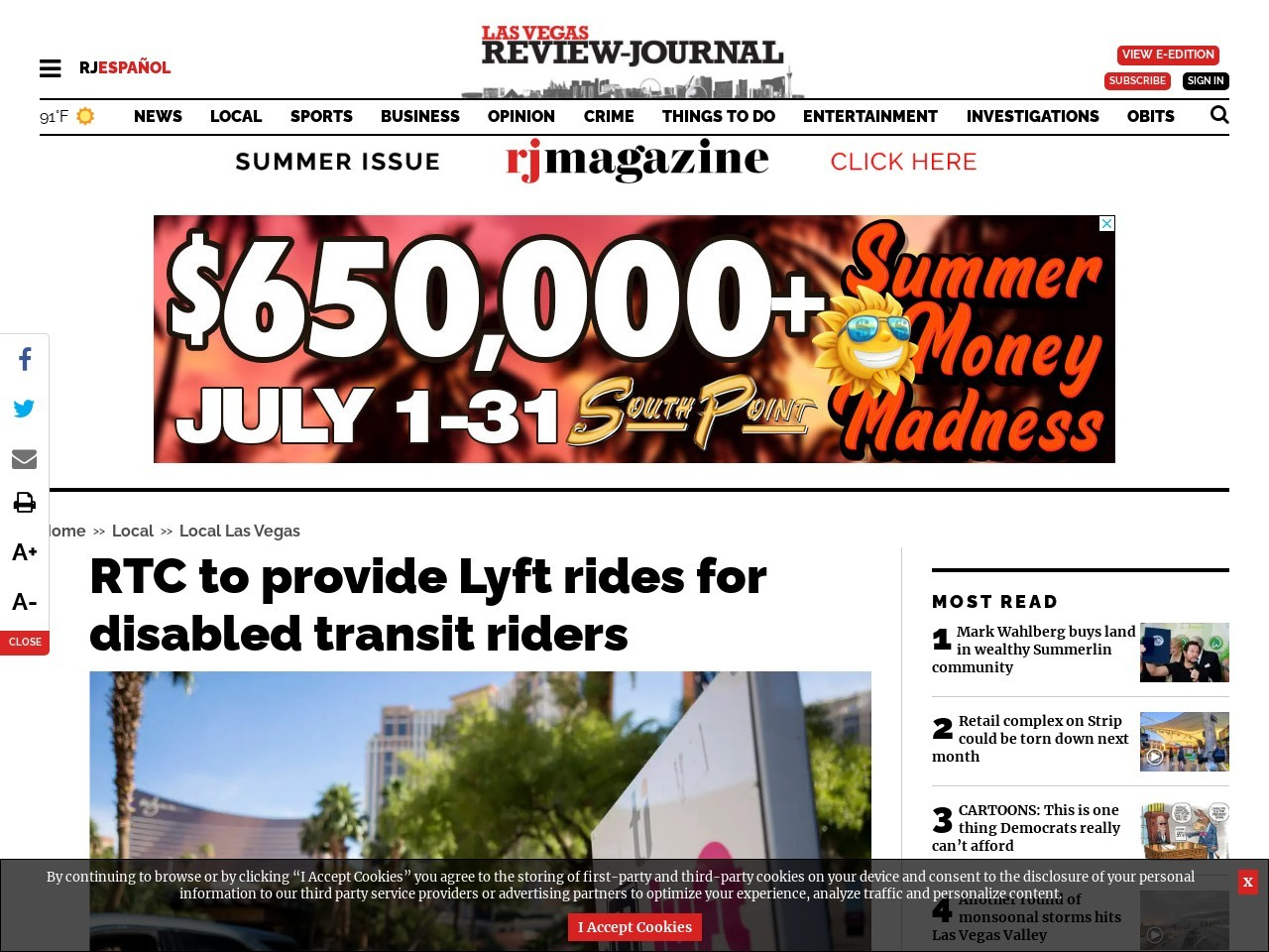 RTC to provide Lyft rides for disabled transit riders