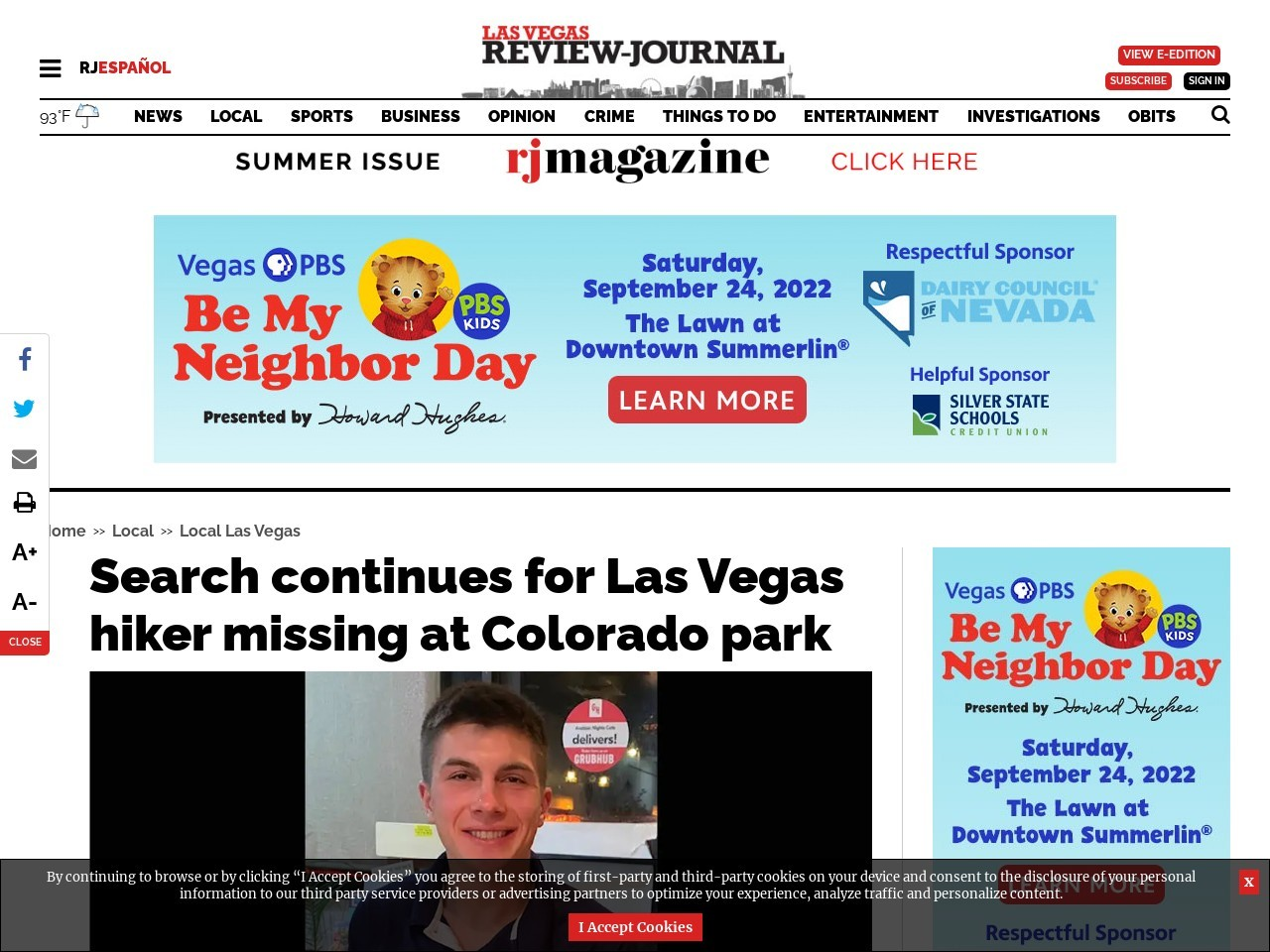 Search continues for Las Vegas hiker missing at Colorado park