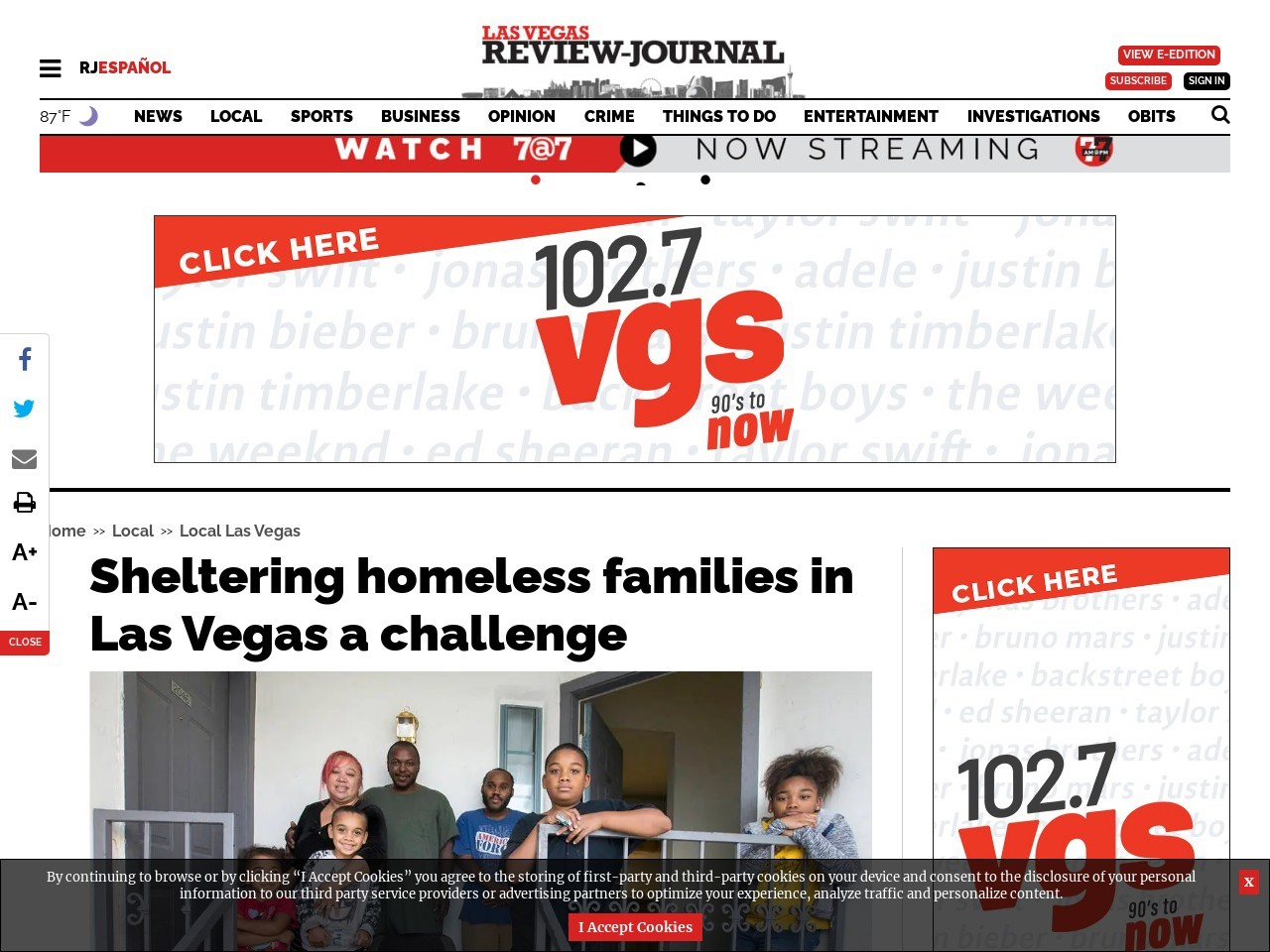 Sheltering homeless families in Las Vegas a challenge
