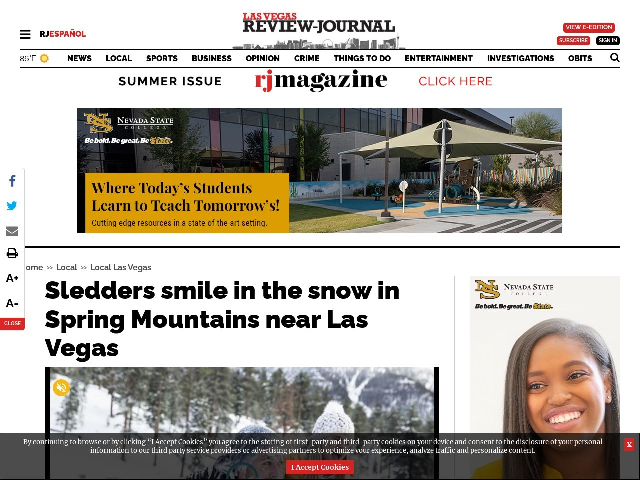 Sledders smile in the snow in Spring Mountains near Las Vegas