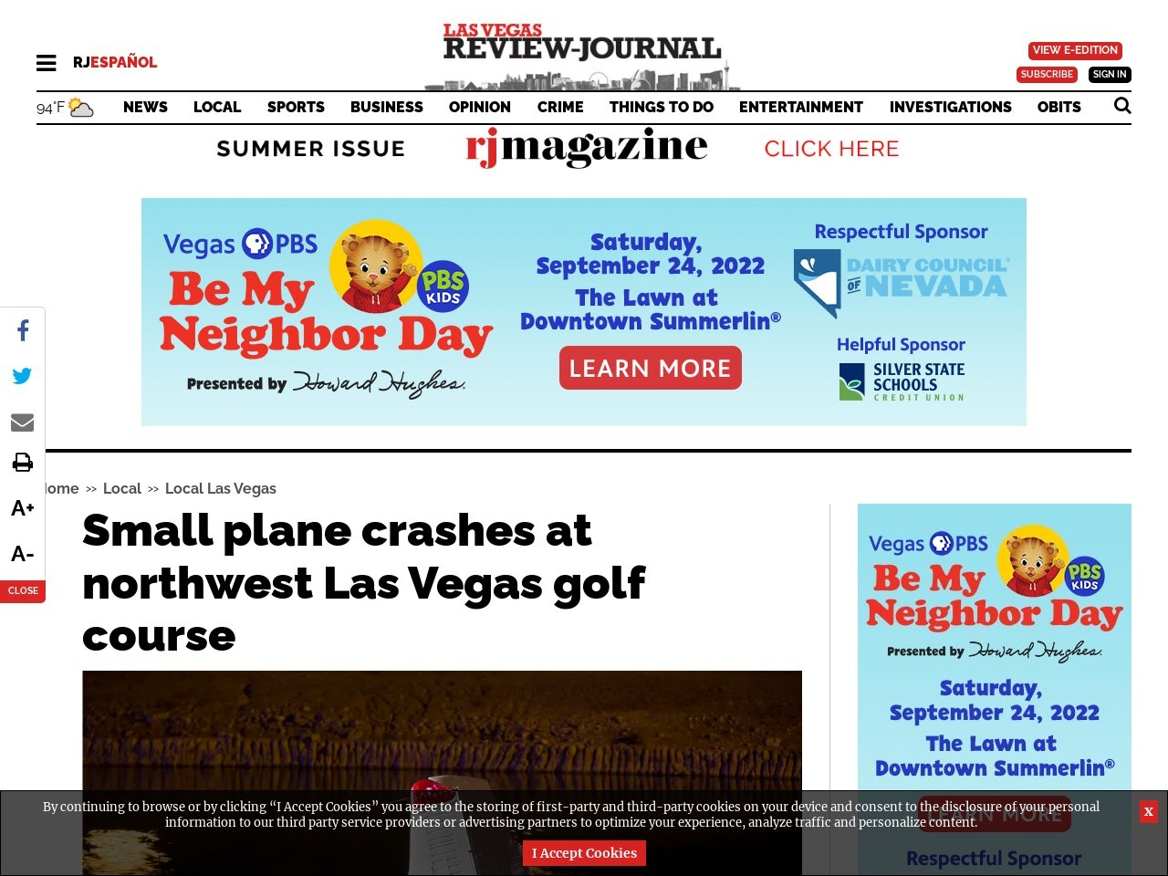 Small plane crashes at northwest Las Vegas golf course