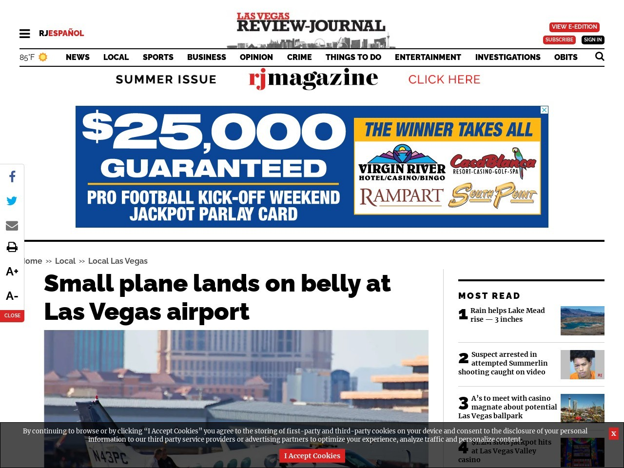 Small plane lands on belly at Las Vegas airport