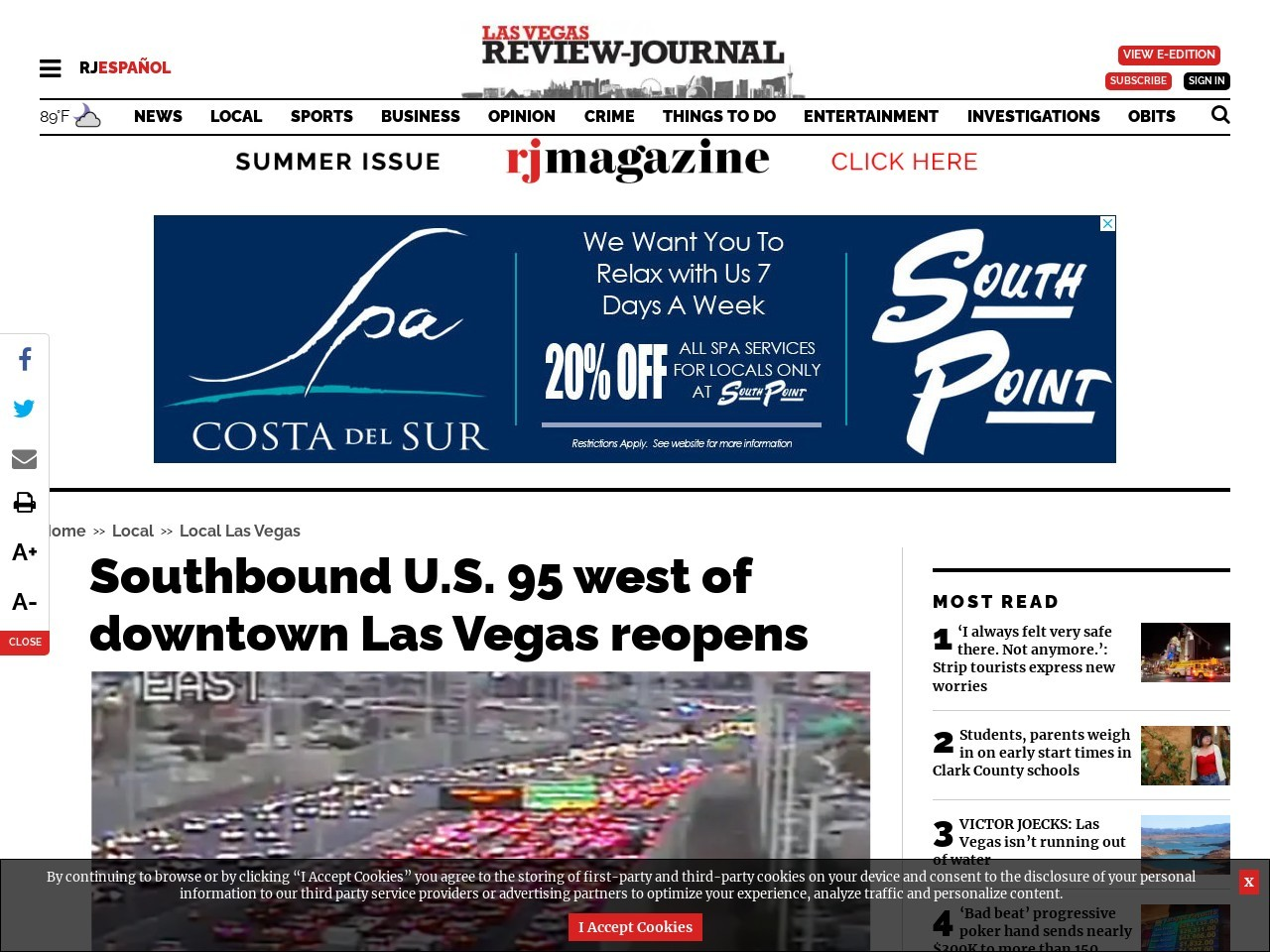 Southbound U.S. 95 west of downtown Las Vegas reopens