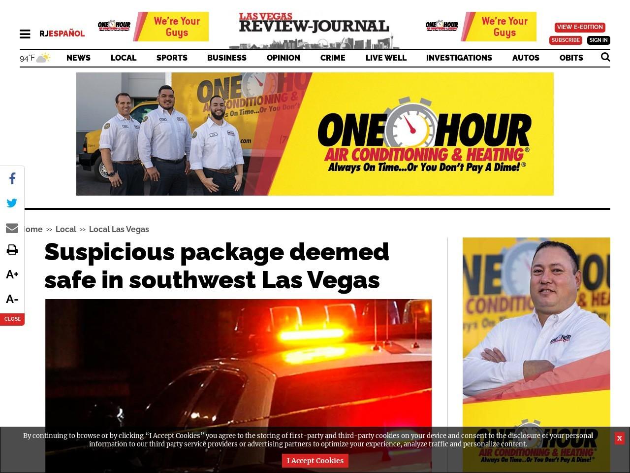 Suspicious package deemed safe in southwest Las Vegas