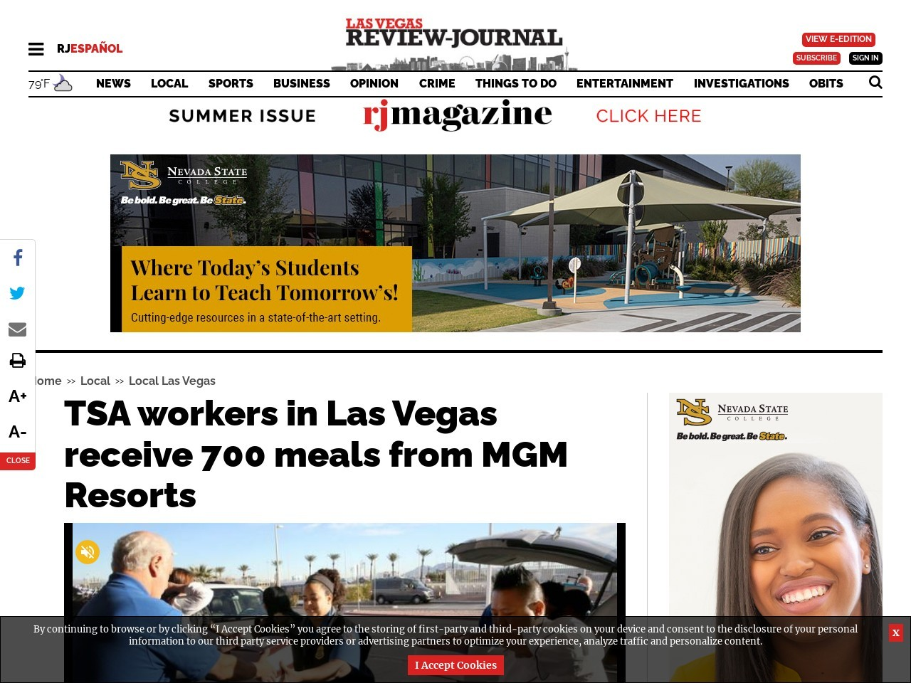 TSA workers in Las Vegas receive 700 meals from MGM Resorts