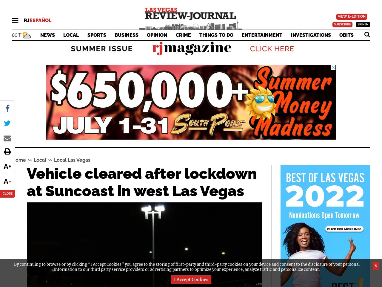 Vehicle cleared after lockdown at Suncoast in west Las Vegas