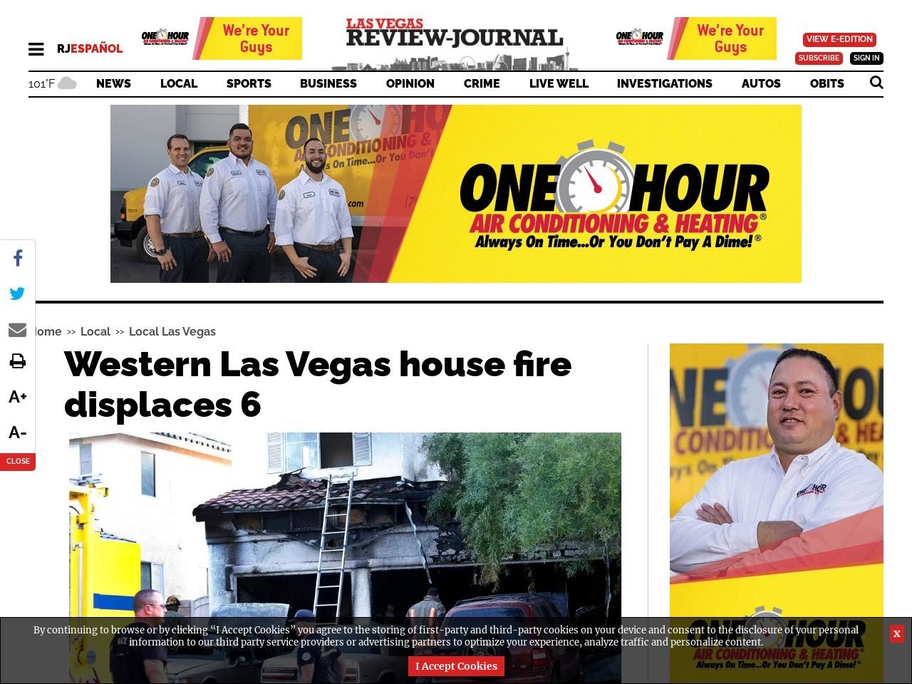 Western Las Vegas house fire displaces 6