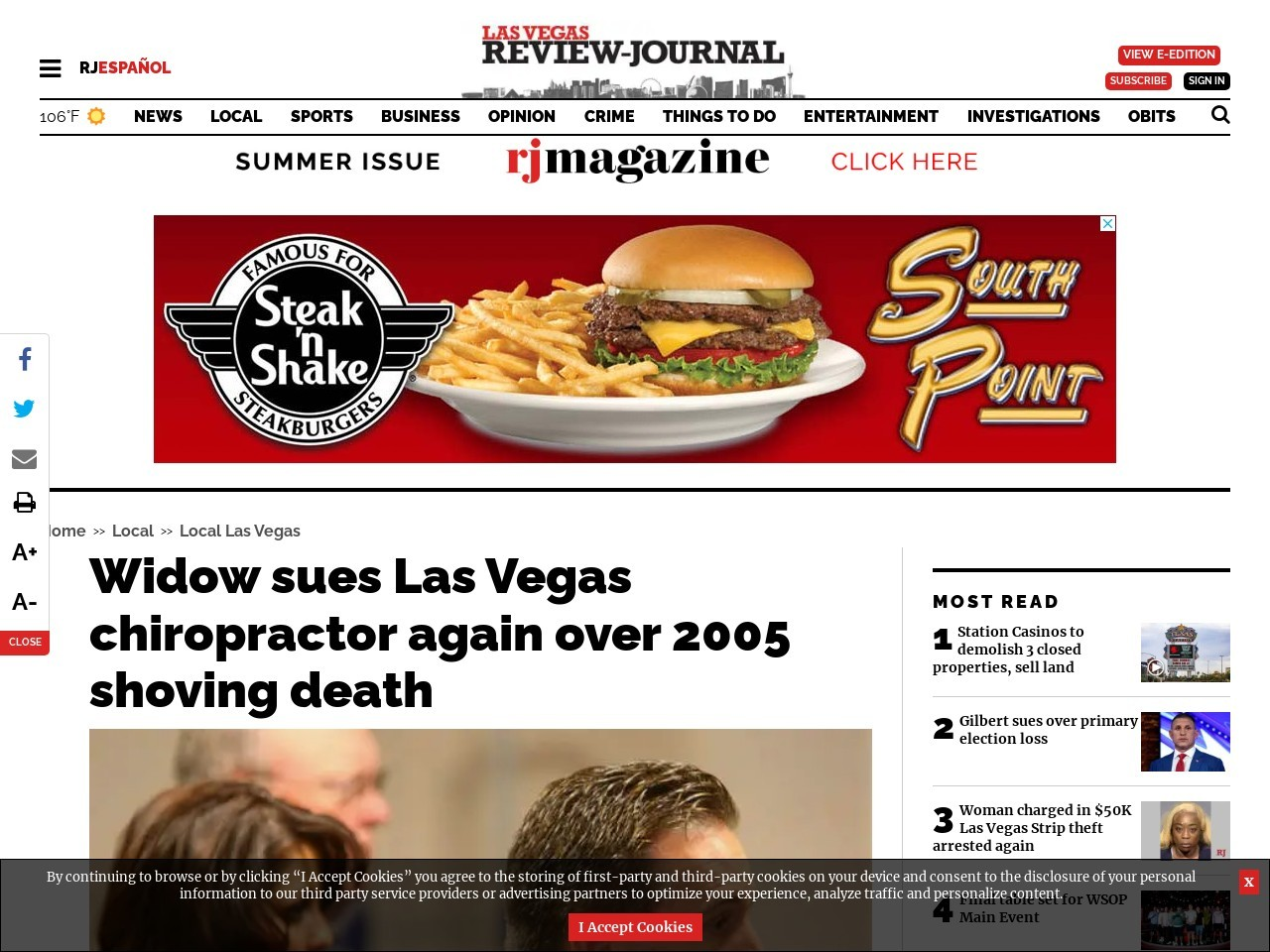 Widow sues Las Vegas chiropractor again over 2005 shoving death