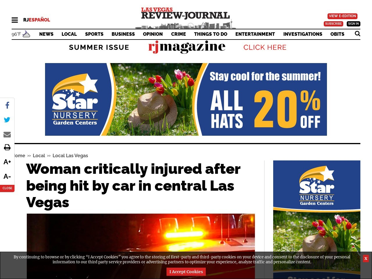 Woman critically injured after being hit by car in central Las Vegas
