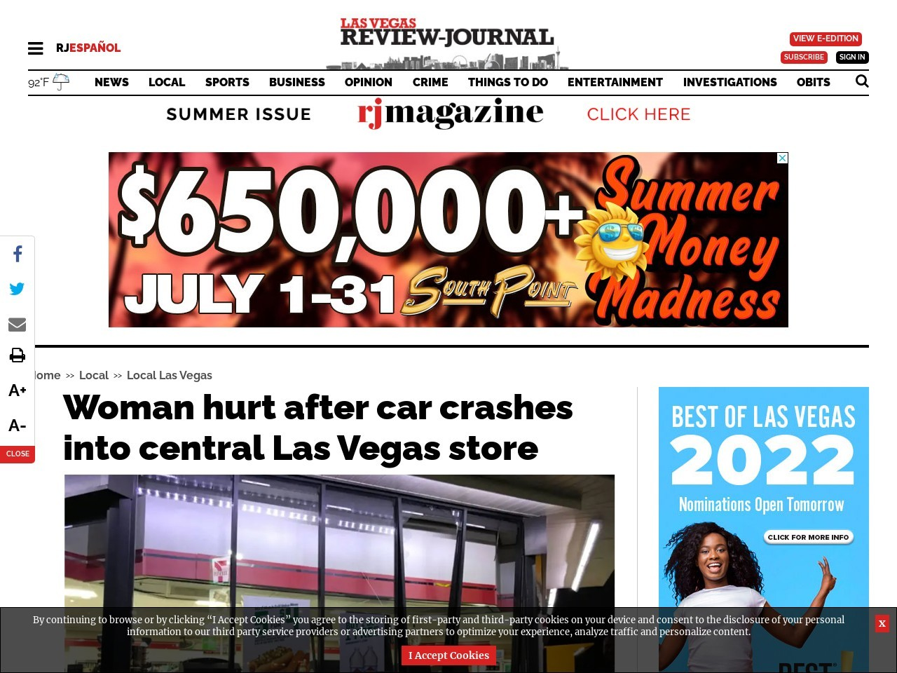 Woman hurt after car crashes into central Las Vegas store