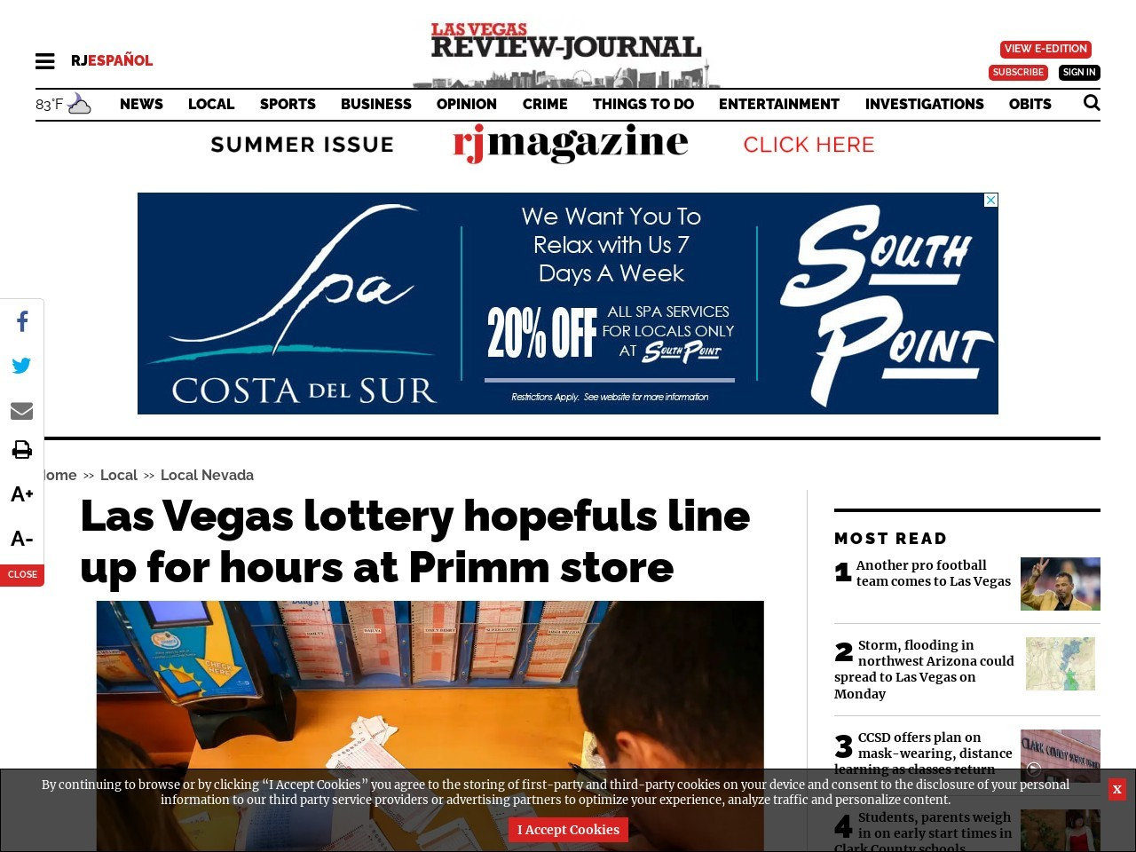 Las Vegas lottery hopefuls line up for hours at Primm store