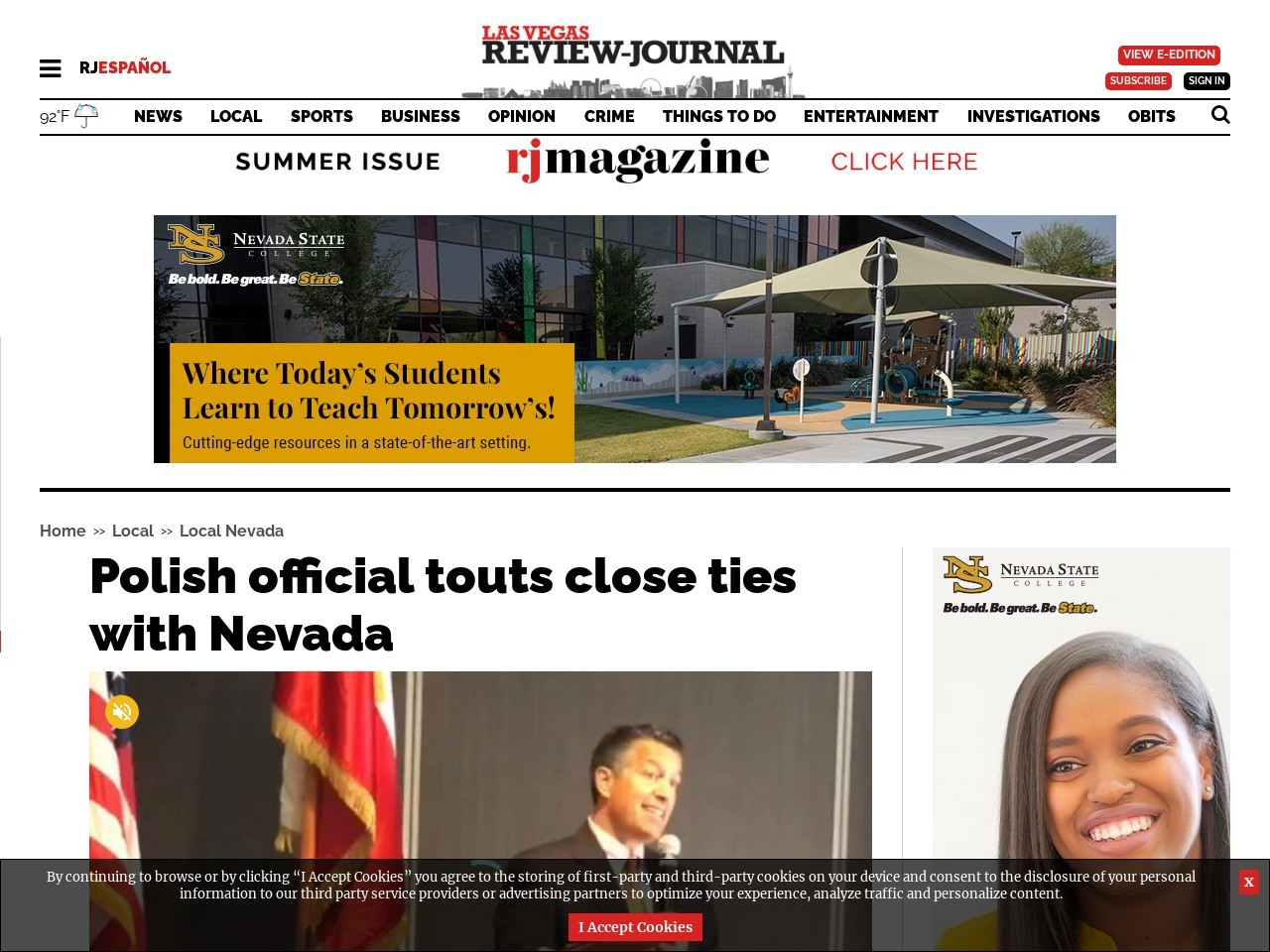 Polish official touts close ties with Nevada