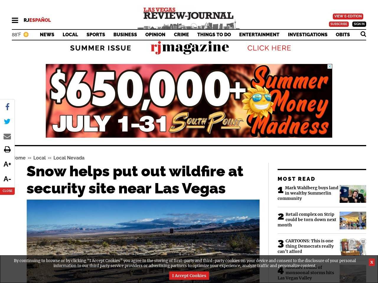 Snow helps put out wildfire at security site near Las Vegas