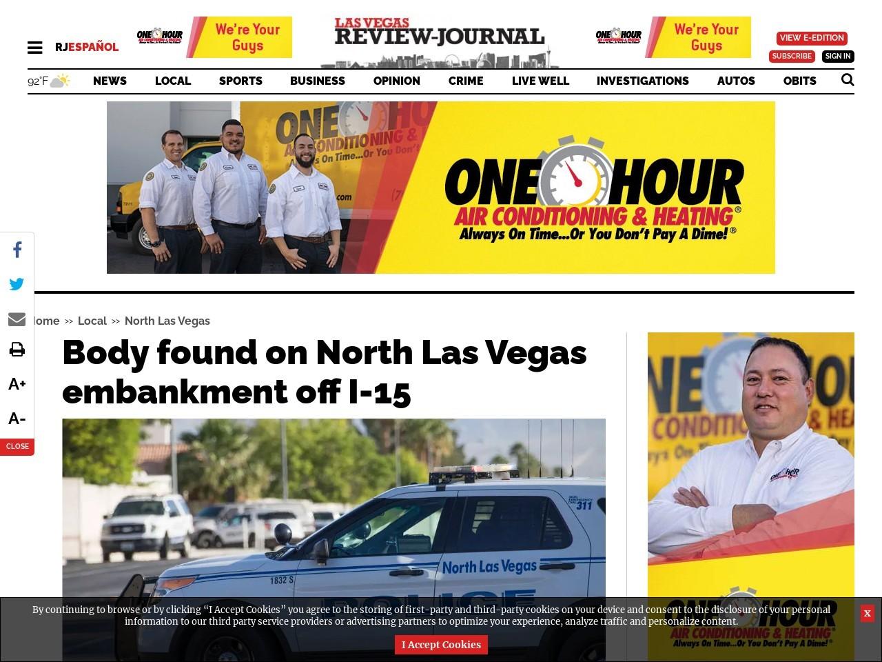 Body found on North Las Vegas embankment off I-15