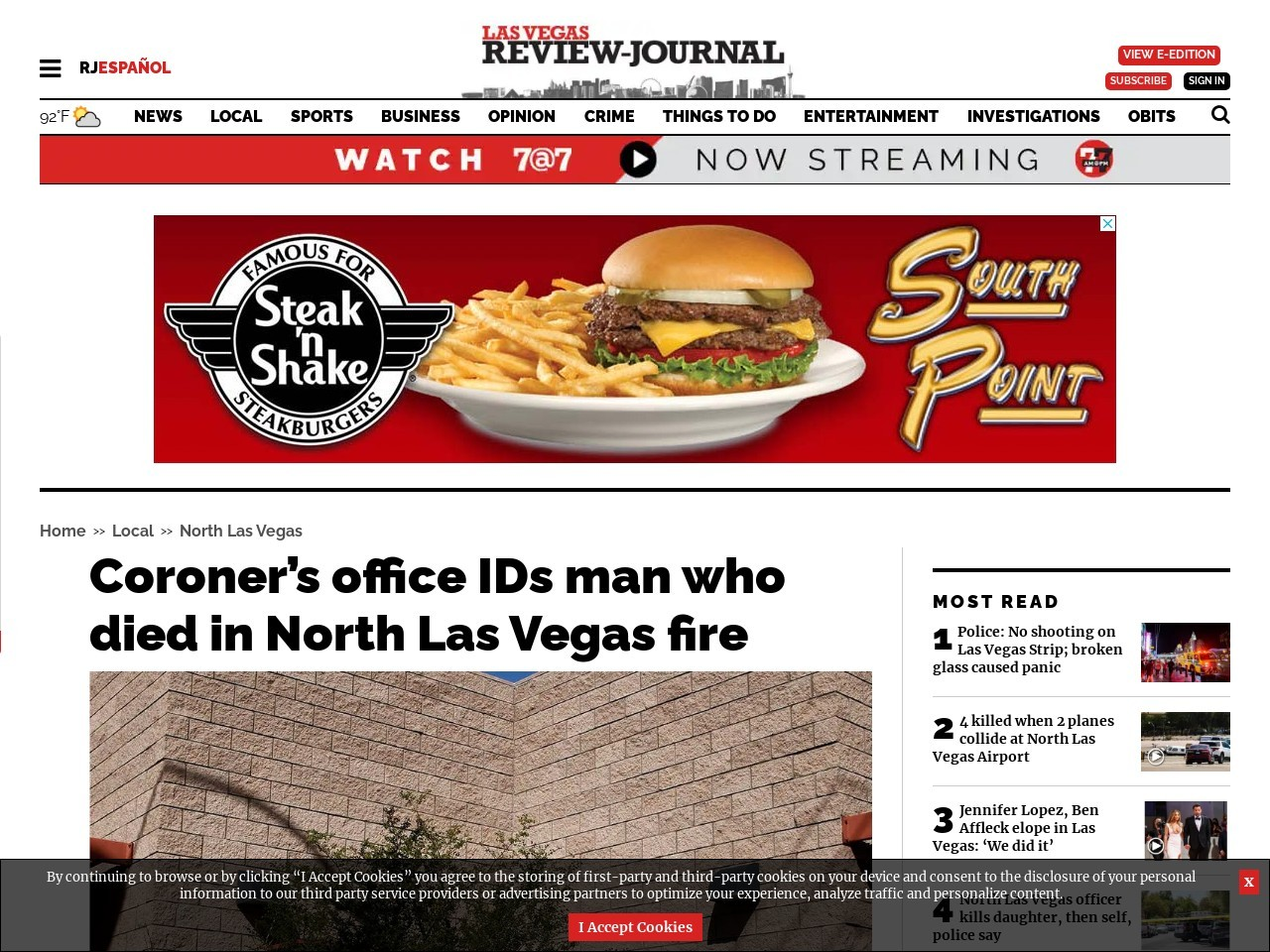 Coroner's office IDs man who died in North Las Vegas fire