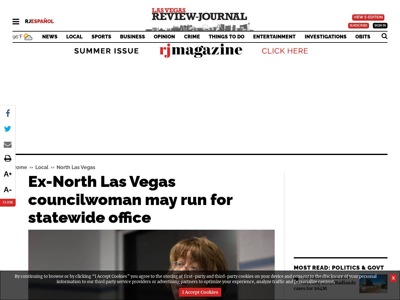 Ex-North Las Vegas councilwoman may run for statewide office