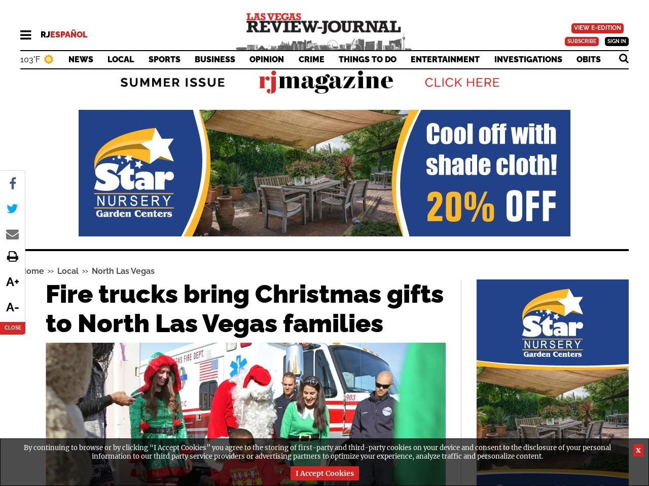 Fire trucks bring Christmas gifts to North Las Vegas families