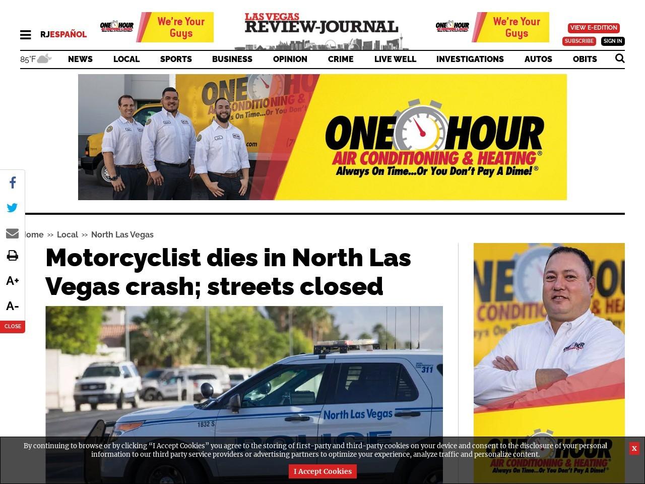 Motorcyclist dies in North Las Vegas crash; streets closed