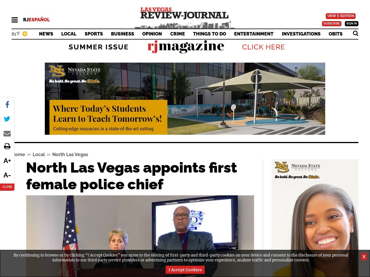 North Las Vegas appoints first female police chief