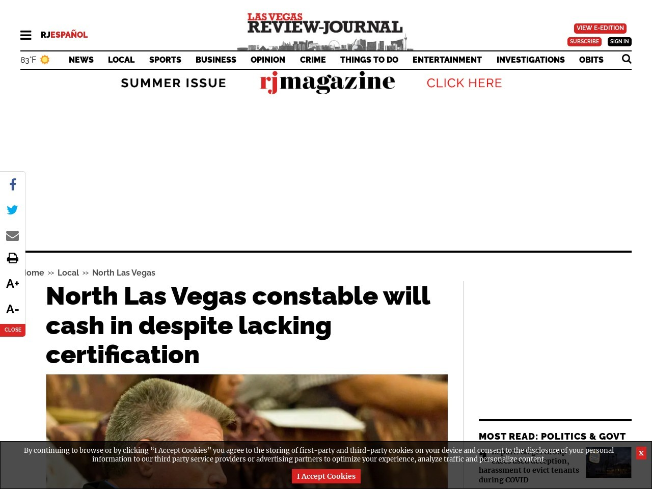 North Las Vegas constable will cash in despite lacking certification