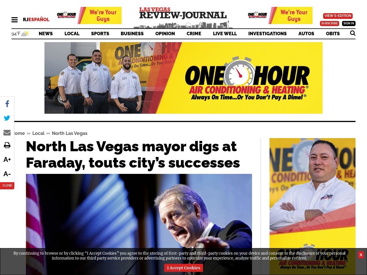 North Las Vegas mayor digs at Faraday, touts city's successes