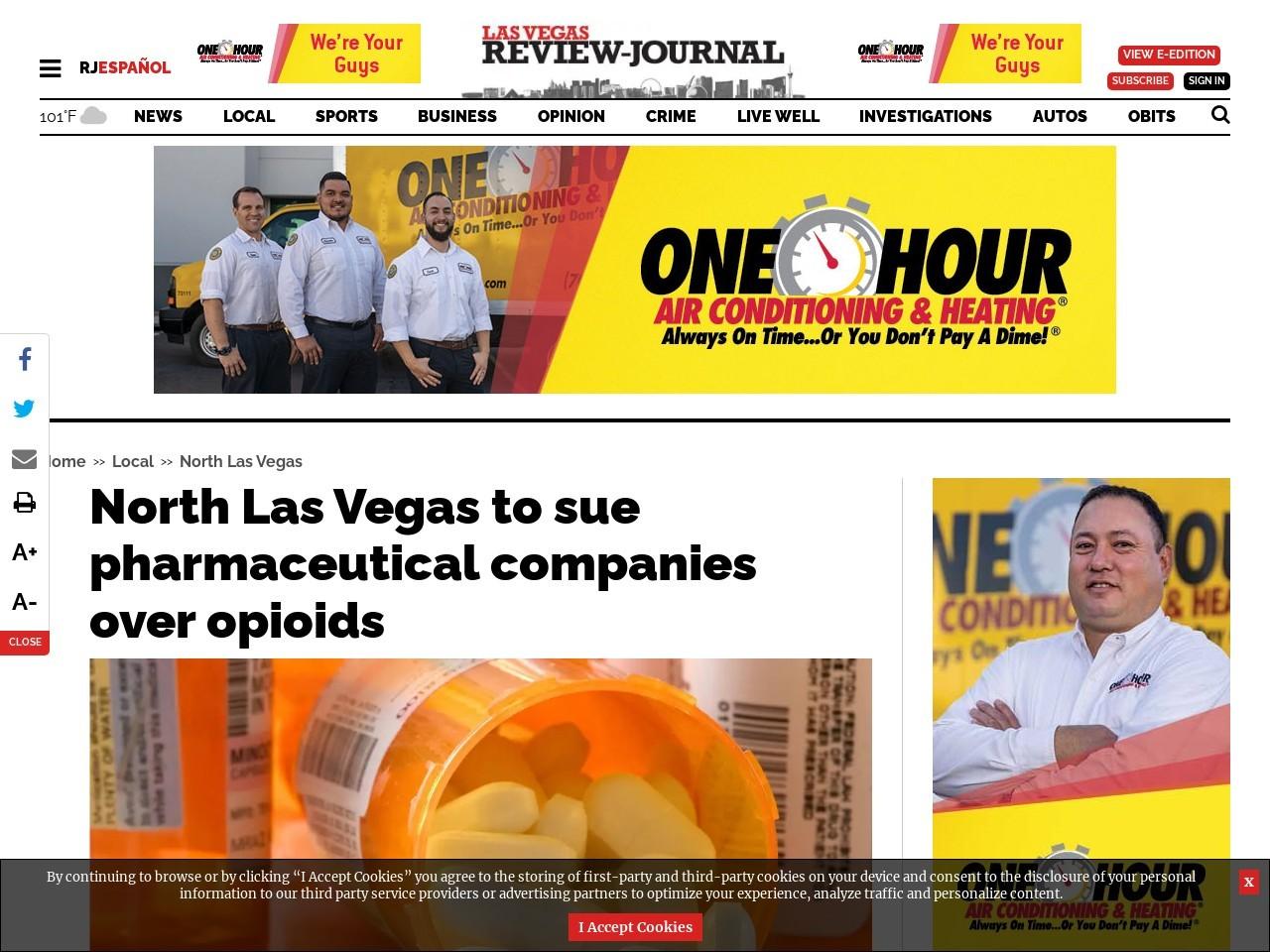 North Las Vegas to sue pharmaceutical companies over opioids