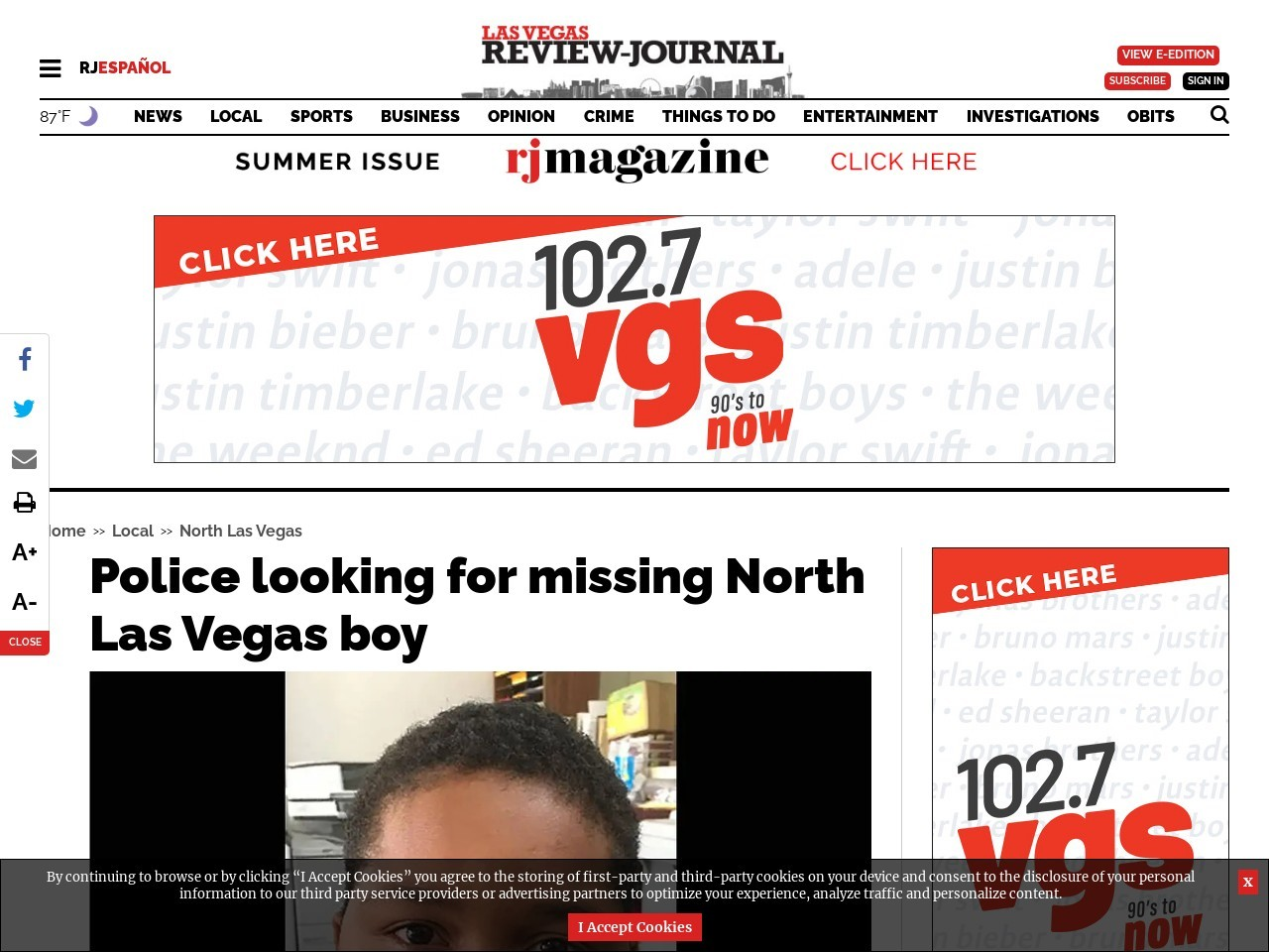 Police looking for missing North Las Vegas boy