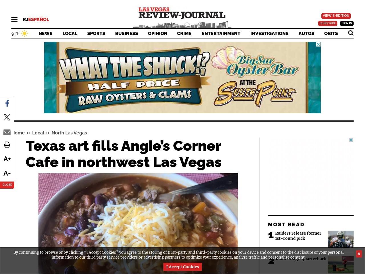 Texas art fills Angie's Corner Cafe in northwest Las Vegas