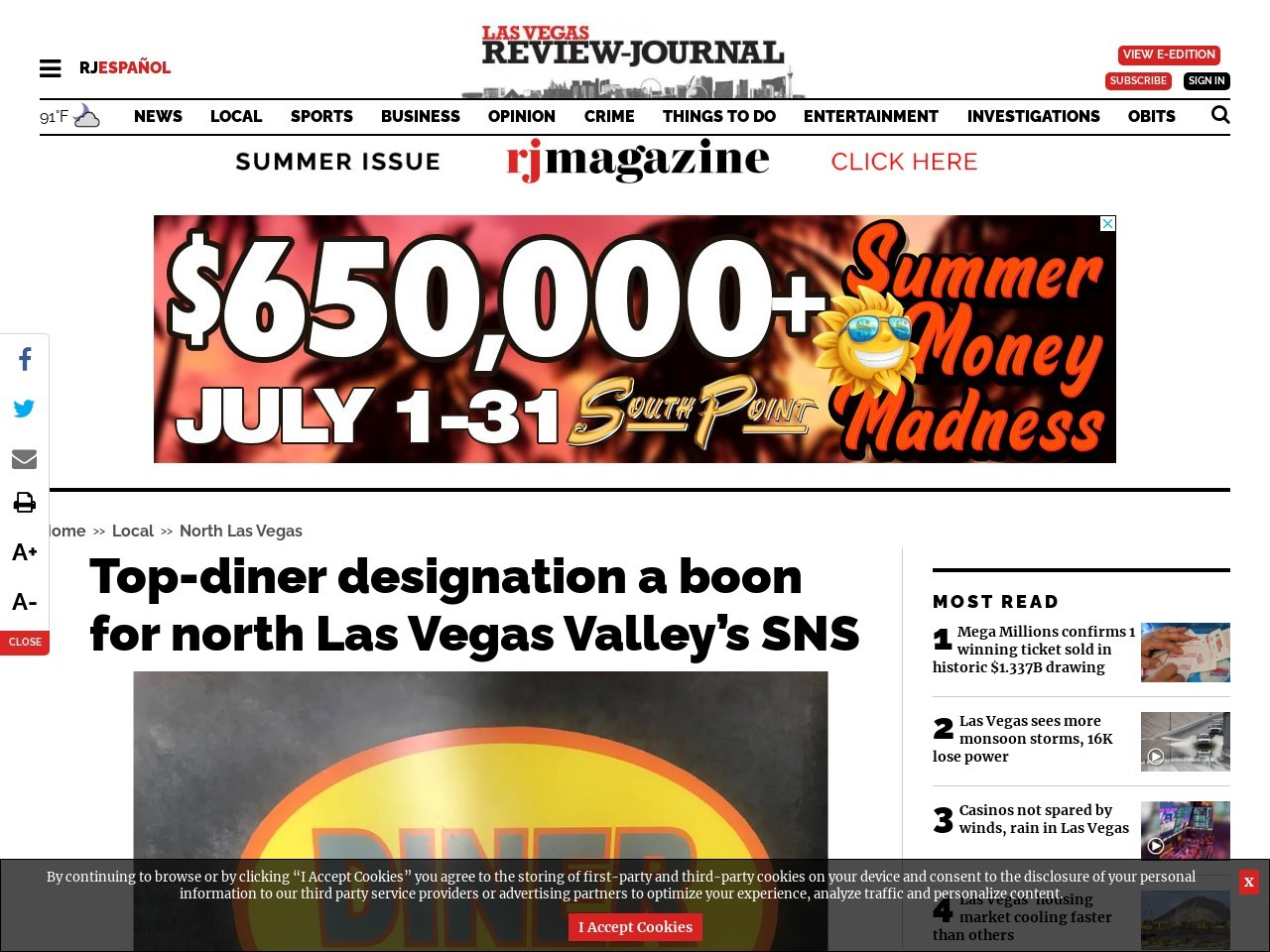 Top-diner designation a boon for north Las Vegas Valley's SNS