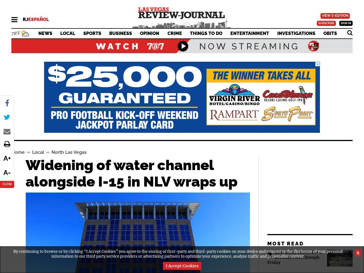 Widening of water channel alongside I-15 in NLV wraps up