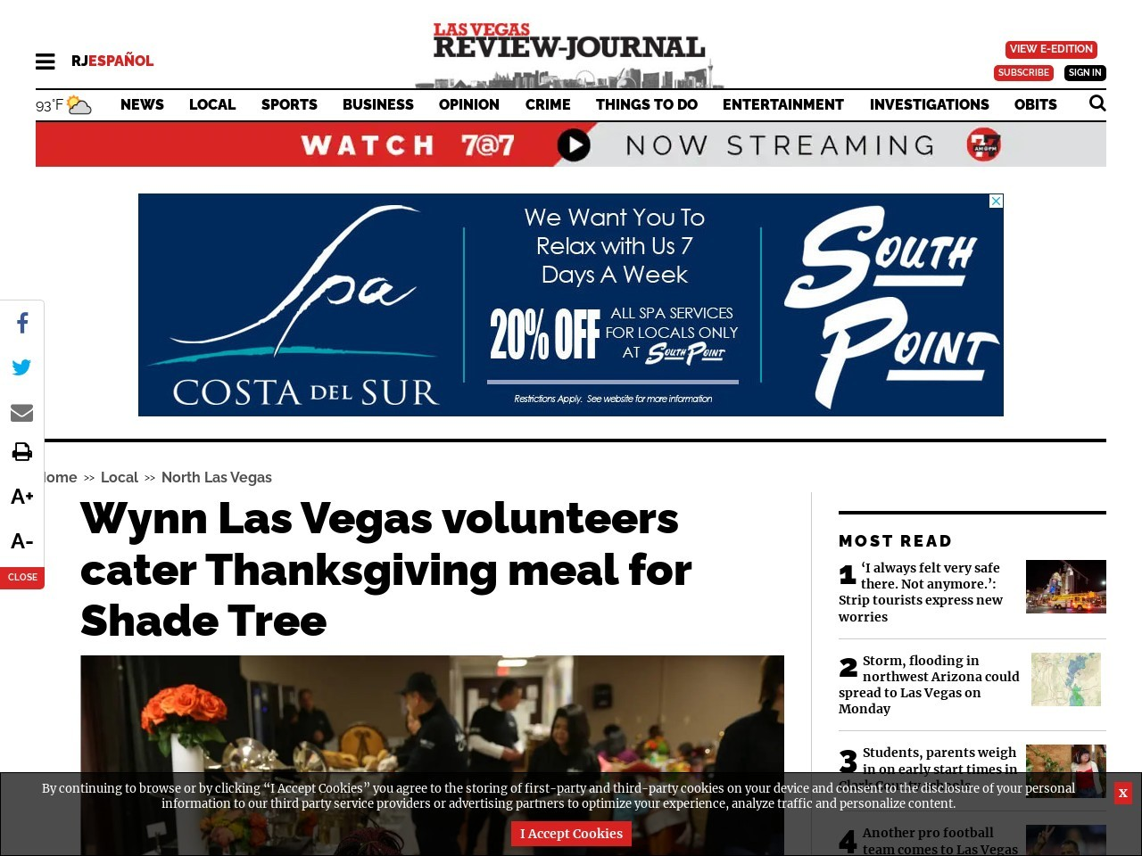 Wynn Las Vegas volunteers cater Thanksgiving meal for Shade Tree