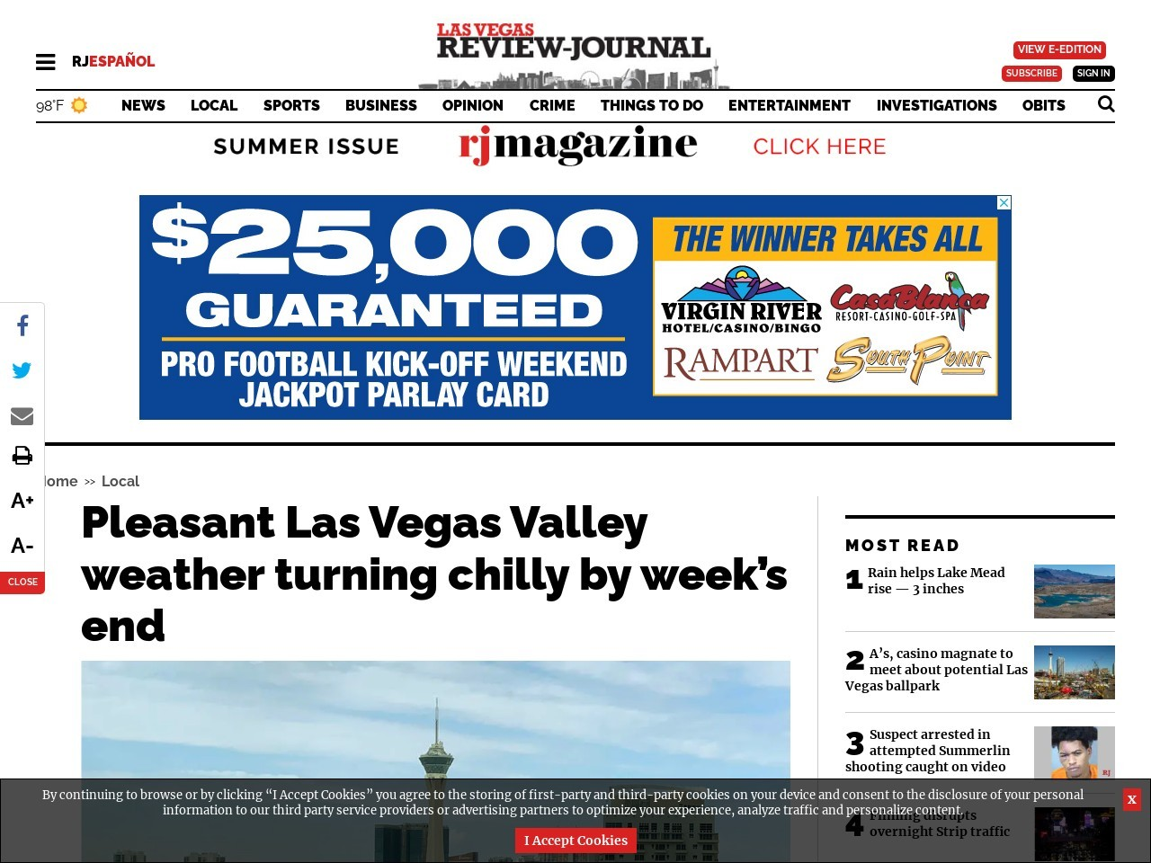 Pleasant Las Vegas Valley weather turning chilly by week's end