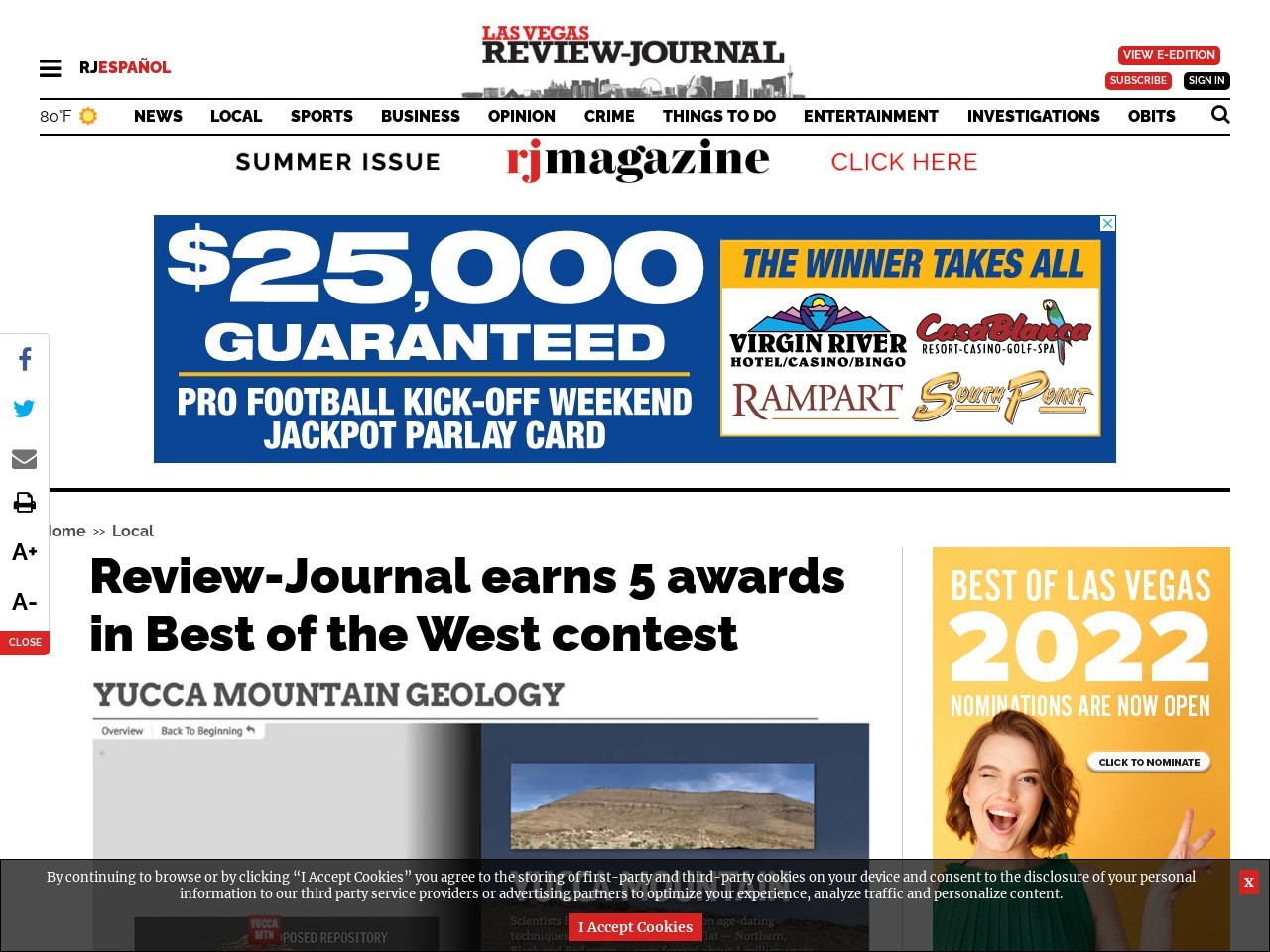 Review-Journal earns 5 awards in Best of the West contest